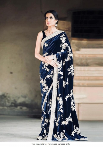 Bollywood model Navy blue viscose velvet embroidery saree