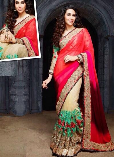 Karishma Kapoor Red Party wear saree
