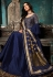 Sonal chauhan navy blue silk embroidered long anarkali suit 7407