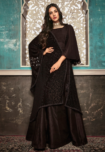 Sonal chauhan brown silk embroidered long anarkali suit 7404