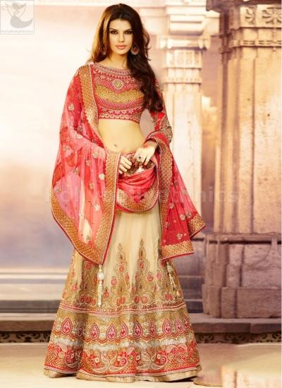 Cream colour Bridal Lehenga