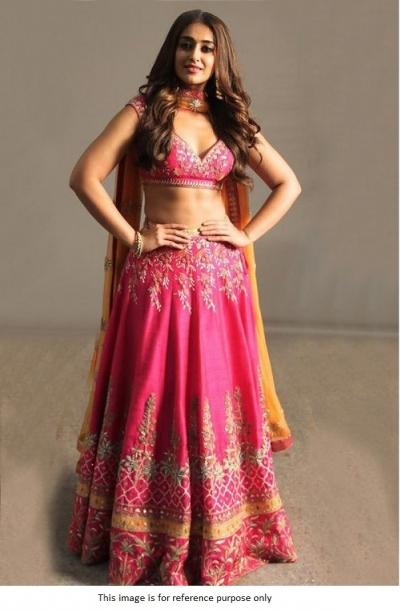 Bollywood Illeana D'cruz inspired pink Banglori silk lehenga