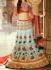 Sky blue and red colour bridal lehenga choli