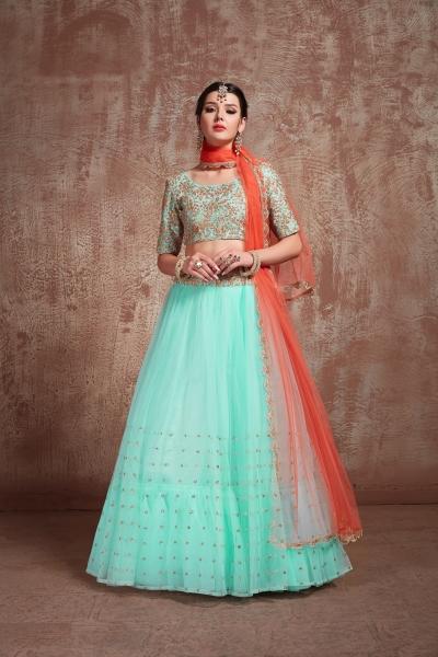 Blue color net sequins wedding lehenga