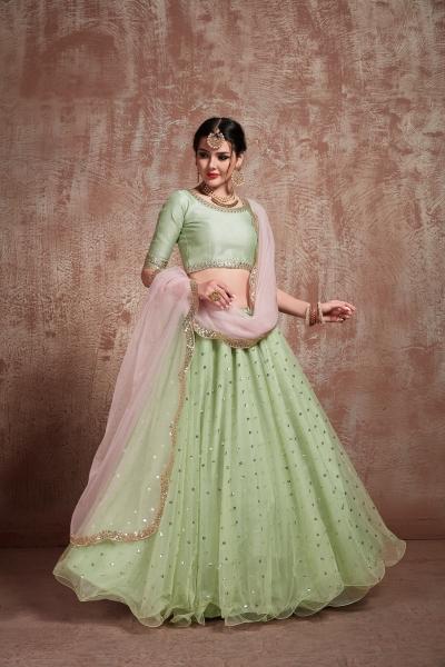 Pista Green net sequins wedding lehenga