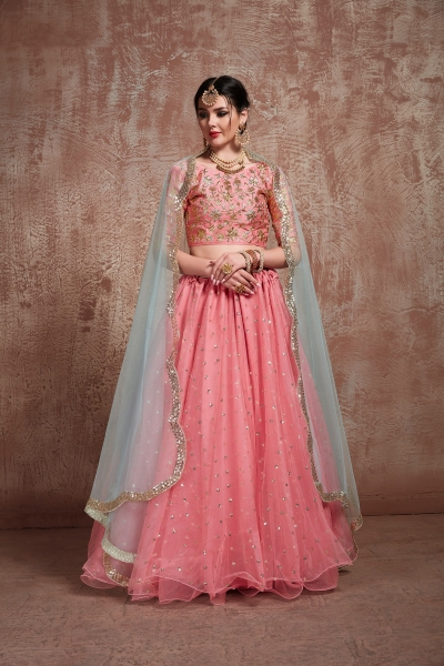 Pink color net sequins work wedding lehenga