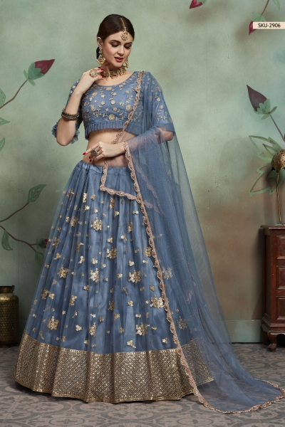 Grey net sequins wedding lehenga