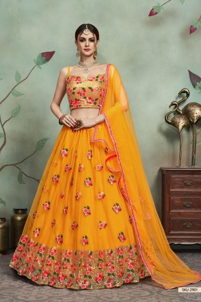 Mustuard color net sequins wedding lehenga