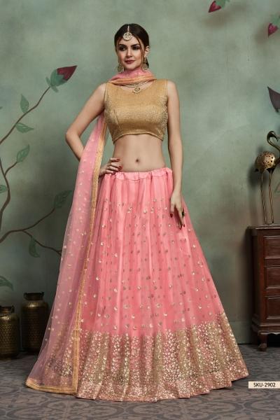 Baby pink color net sequins wedding lehenga
