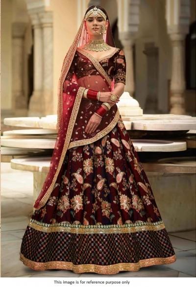 Bollywood sabyasachi Inspired Maroon Tafetta silk lehenga