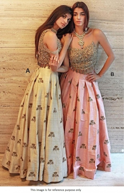 Bollywood Model Pink Mulberry silk lehenga