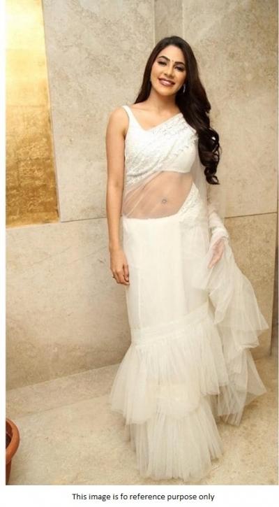 Bollywood Model White net designer ruffle saree