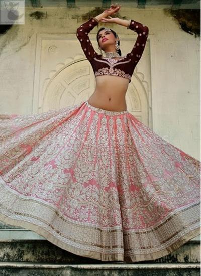 Pink and maroon Bridal Lehenga choli