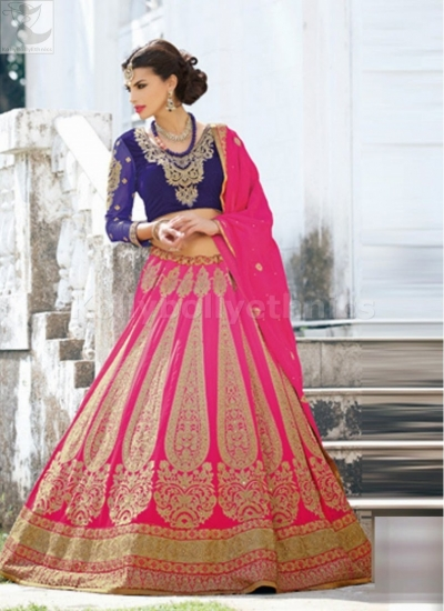 Blue and pink colour bridal lehenga choli