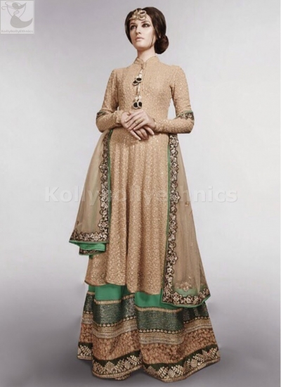 Beige and green wedding palazzo suit