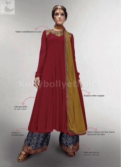Maroon and blue palazzo style Wedding Suit