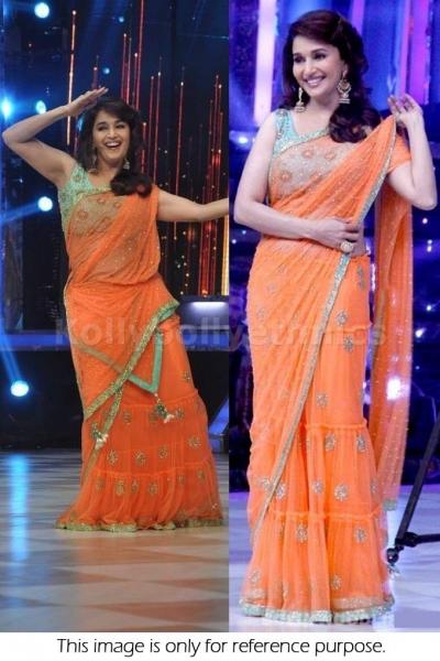 Madhuri Dixit orange and sea blue saree