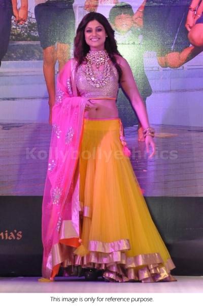 Shamita Shetty Yellow and pink lehenga