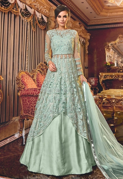 Sea Green net embroidered Wedding lehenga kameez