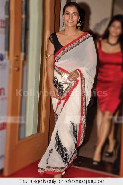 Kajol white and black saree