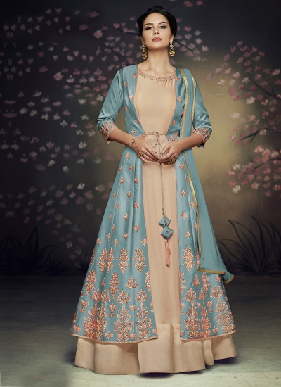 blue net and satin silk jacket style gown anarkali suit 3077