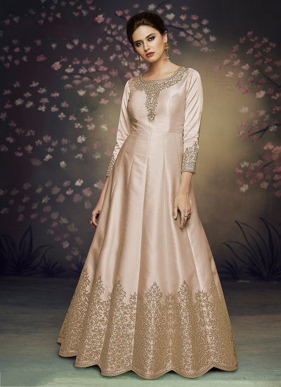 Beige satin silk gown style embroidered anarkali suit 3076