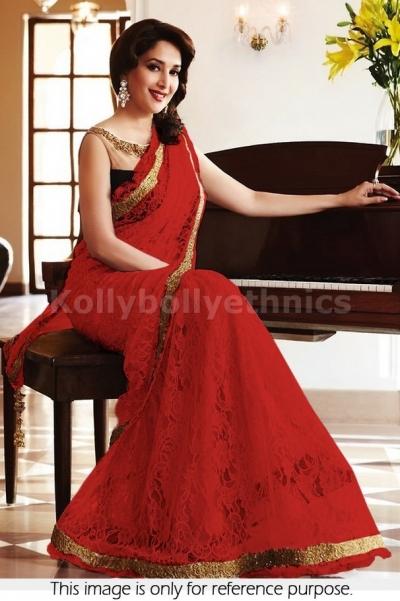 Madhuri Dixit red and black saree
