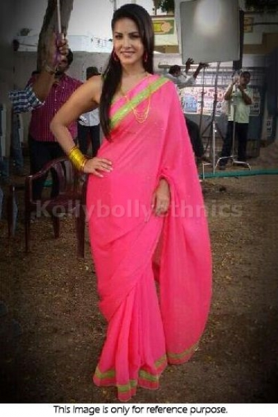 Sunny Leon Pink saree
