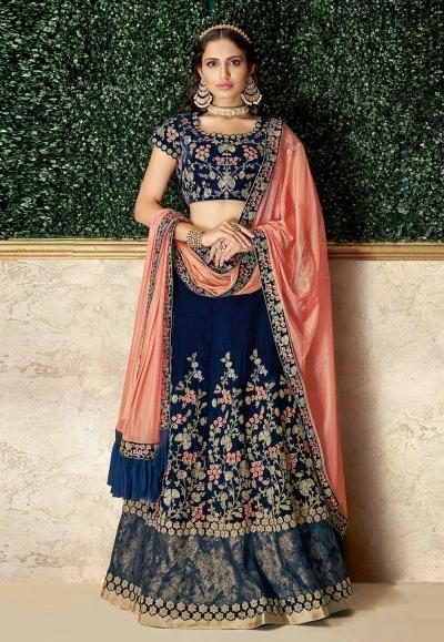 Navy blue velvet embroidered designer lehenga choli 16213