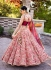 Peach and maroon Organza embroidered Wedding lehenga