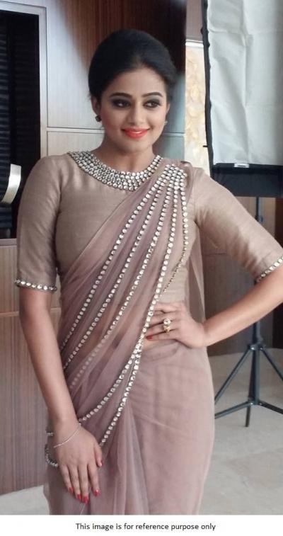Bollywood Priyamani dusty pink net designer saree