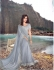Grey korean fabric heavy crystal work wedding saree