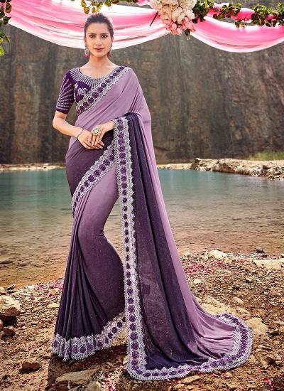 Purple Korean fabric moti work heavy wedding saree