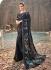Black sequence and heavy thread work wedding saree