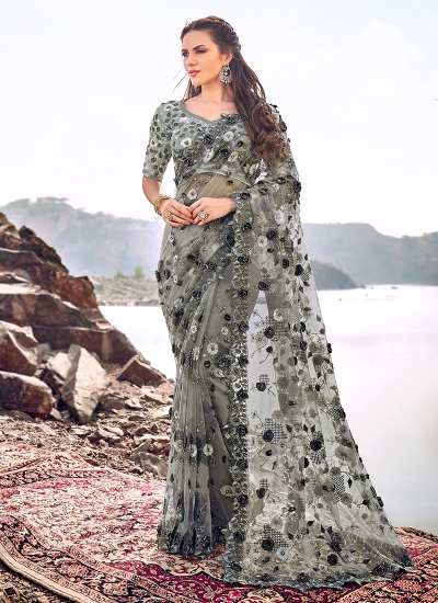 Grey digial net saree hand work wedding wear saree