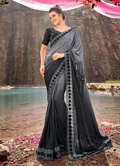 Grey shaded diamond and heavy work wedding saree