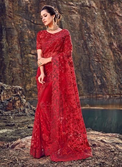 Red net diamond work wedding wear saree