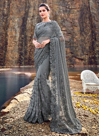Grey net heavy moti work wedding saree