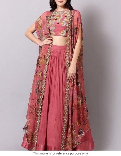 Bollywood model cherry pink georgette lehenga