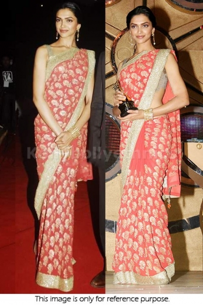 Deepika Padukone Designer peach colour saree