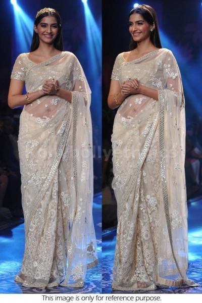 Sonam Kapoor white net saree