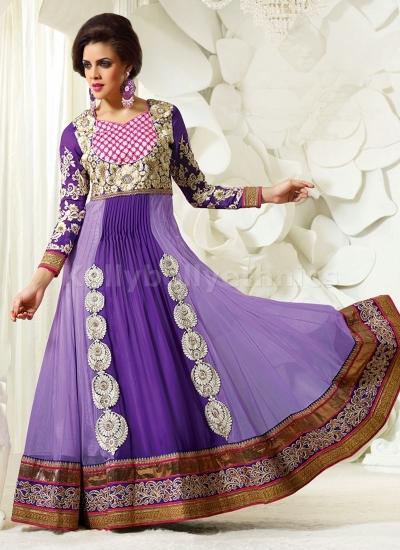 Purple Party wear Anarkali suit