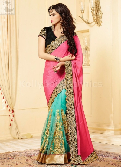 Torquoise blue Party Wear Saree