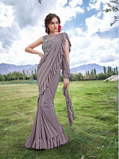 Indian ruffle party wear saree