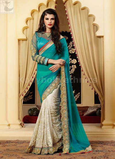 Off white and blue Party Wear Saree