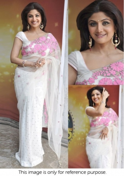 Shilpa Shetty White Embroidered Saree