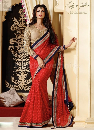 Red and Beige Party Wear Saree