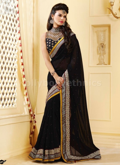 Black georgette Party Wear Saree
