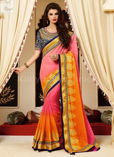 Shaded Pink and orange Party Wear Saree