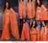 Deepika exclusive orange mirror work saree